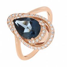 Золотое кольцо Эгида с лондон топазом и фианитами