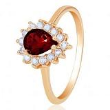 Золотое кольцо Фаина с гранатом и фианитами