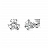 Серебряные серьги-пуссеты с фианитами Клевер