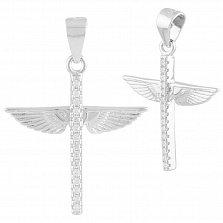 Серебряный декоративный крестик Ангельские крылья с фианитами