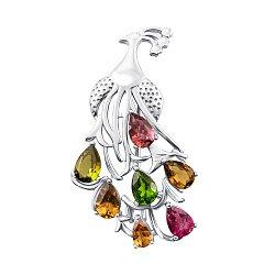 Серебряная брошь с разноцветными турмалинами 000137825