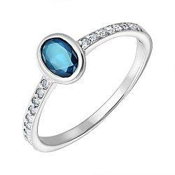 Серебряное кольцо с завальцованным лондон топазом и фианитами 000103095
