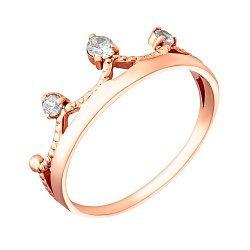 Кольцо-корона из красного золота с фианитами 000035726