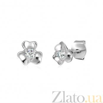 Серебряные серьги-пуссеты с фианитами Клевер SLX--С2Ф/480