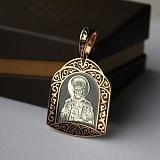 Серебряная ладанка Николай Чудотворец в позолоте с чёрной эмалью
