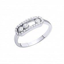 Серебряное кольцо Магнетизм с подвижными фианитами