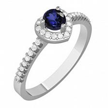 Золотое кольцо с сапфиром и бриллиантами Эльза