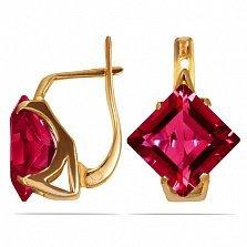Золотые серьги Величие принцессы с синтезированными рубинами