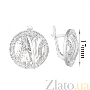 Серебряные серьги Эклектика с фианитами 000045545