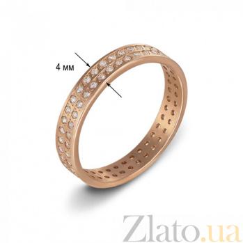 Золотое обручальное кольцо Дорога жизни в красном цвете с фианитами 1083