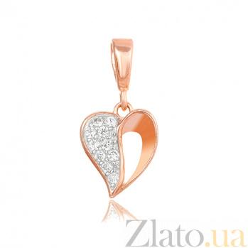 Серебряный подвес Сердце в любви с фианитами и позолотой SLX--П3Ф/494