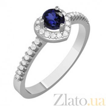 Золотое кольцо с сапфиром и бриллиантами Эльза KBL--К1078/бел/сапф