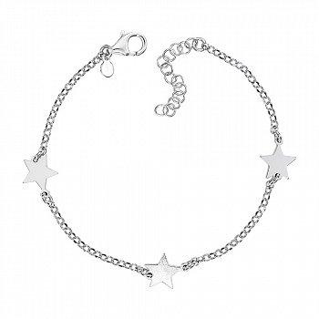 Серебряный браслет со звеньями в виде звезд 000136943