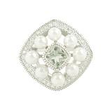 Серебряное кольцо с жемчугом и цирконием Дана