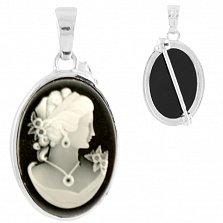 Серебряный кулон-брошь Манон с черной эмалью и белым перламутром