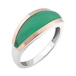 Серебряное кольцо с золотыми накладками и зеленым улекситом 000088803