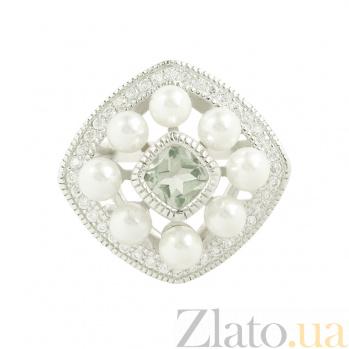 Серебряное кольцо с жемчугом и цирконием Дана 3К934-0048