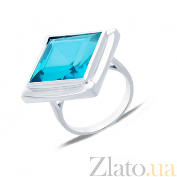 Серебряное кольцо с голубым кварцем Ромбо AQA-R02443Qlb