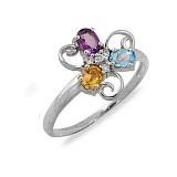 Золотое кольцо с аметистом, топазом, цитрином и бриллиантами Дарианна
