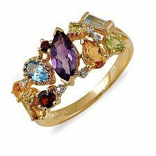 Золотое кольцо с аметистом, гранатом, перидотом, топазом, цитрином и бриллиантами Катарина