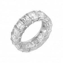 Серебряное кольцо Свадебный танец с широкой шинкой и дорожкой белых фианитов
