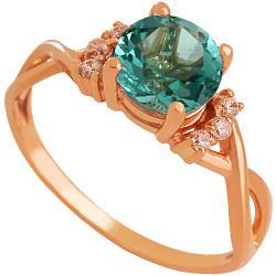 Золотое кольцо Рикарда с синтезированным аметистом и фианитами