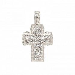 Серебряный декоративный крестик с цирконием Грейс 000013271