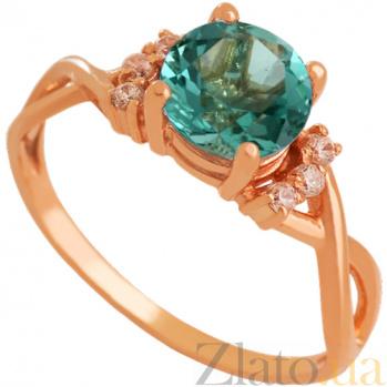 Золотое кольцо Рикарда с синтезированным аметистом и фианитами 000024456