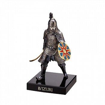 Бронзова скульптура Воїн Золотої Орди на обсидіановій підставці 000051968