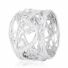 Серебряное кольцо Туман с цирконием