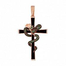 Крестик из красного золота с фианиатми Роза