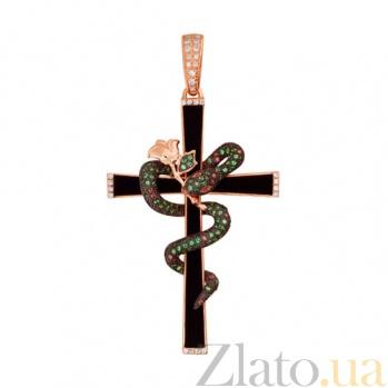 Крестик из красного золота с фианиатми Роза VLT--ТТТ3451-1