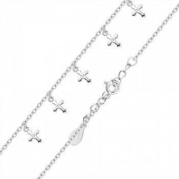 Серебряный браслет с подвесками-крестиками и фианитами в якорном плетении 000124932