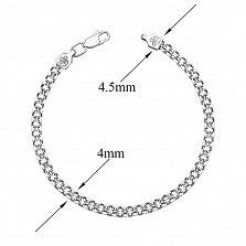 Серебряный браслет Лила в плетении двойной якорь, 4 мм