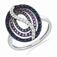 Кольцо в белом золоте Яра с сапфирами, аметистами и бриллиантами