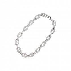 Браслет из серебра и ювелирной стали Элизабет с кристаллами циркония