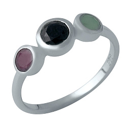 Серебряное кольцо Раминта с завальцованными сапфиром, рубином и изумрудом
