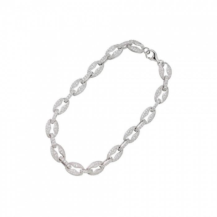 Браслет из серебра и ювелирной стали Элизабет с кристаллами циркония 000082049