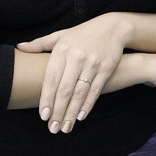 Помолвочное золотое кольцо Морея в белом цвете с бриллиантом