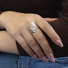 Серебряное кольцо Бабочка без камней с родием