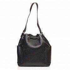 Кожаная сумка на каждый день Genuine Leather 8926 черного цвета на кулиске, с нашивными карманчиками