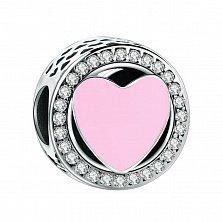 Серебряный шарм Волшебное чувство с сердечком из розовой эмали и фианитами по кругу