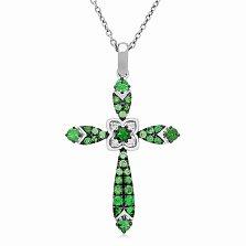 Золотой крестик Роскошь с бриллиантами и цаворитами (зелеными гранатами)