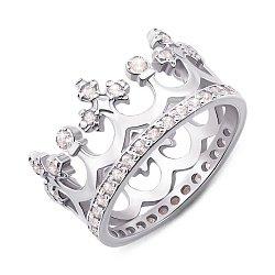 Серебряное кольцо-корона с фианитами 000135456