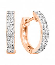 Серьги-конго из красного золота с бриллиантами и родированием 000131239