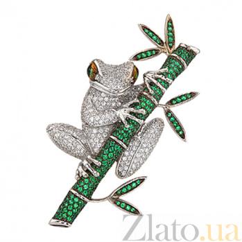 Брошь Лягушка в белом золоте с цирконием VLT--ТТ412-0-11