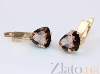 Золотые серьги с раухтопазом Сандра VLN--113-473-2