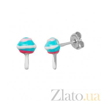 Серебряные серьги Мороженное с цветной эмалью 000081911