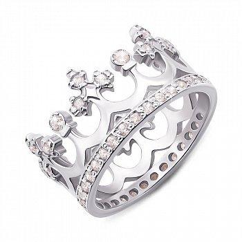 Срібна каблучка-корона з фіанітами 000135456