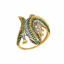 Кольцо из желтого золота Игуана с фианитами